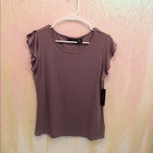 Tahari purple ruffled sleeve t-shirt NWT